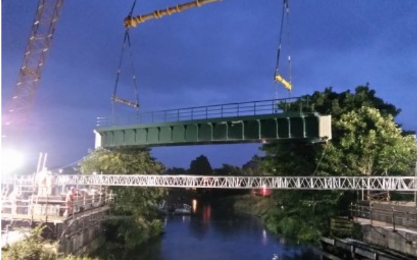 Support for Mobile Crane Lift Over River Witham